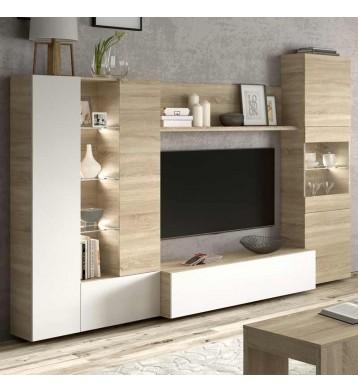 Mueble modular salón comedor LED incluido moderno 260x185x42 cm