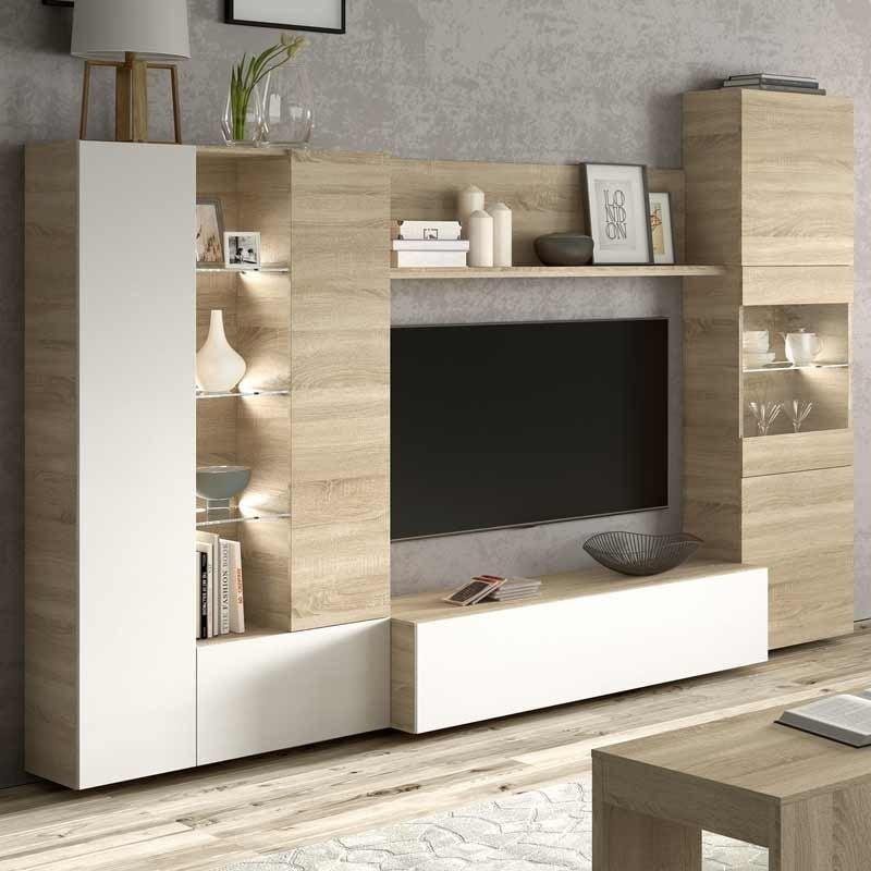 Mueble modular salón comedor LED incluido moderno 260x185 cm