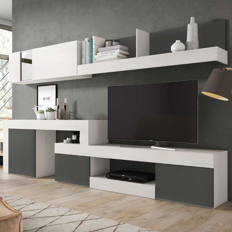 Mueble modular de sal n blanco moderno 295x164x40 cm for Mueble salon moderno blanco
