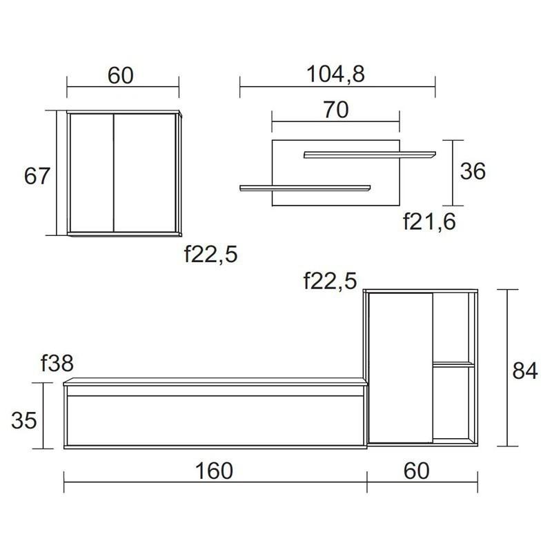 Mueble salón estilo escandinavo color blanco y sable 220x180x38 cm