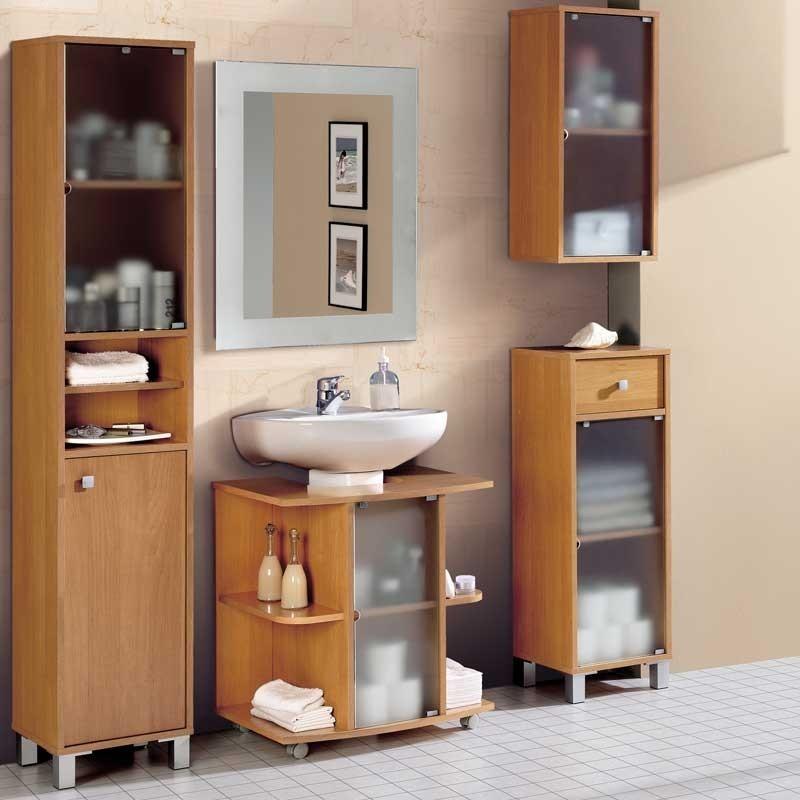 Armario Pandora para baño Cerezo Melamina 96x34x30 ...