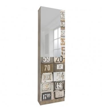 Zapatero alto con espejo y decoración números 180x50x20 cm