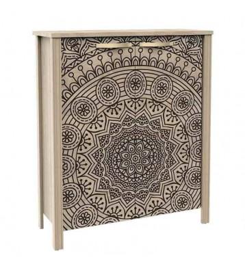Armario zapatero Mandala tiradores dorados 84x33x101 cm