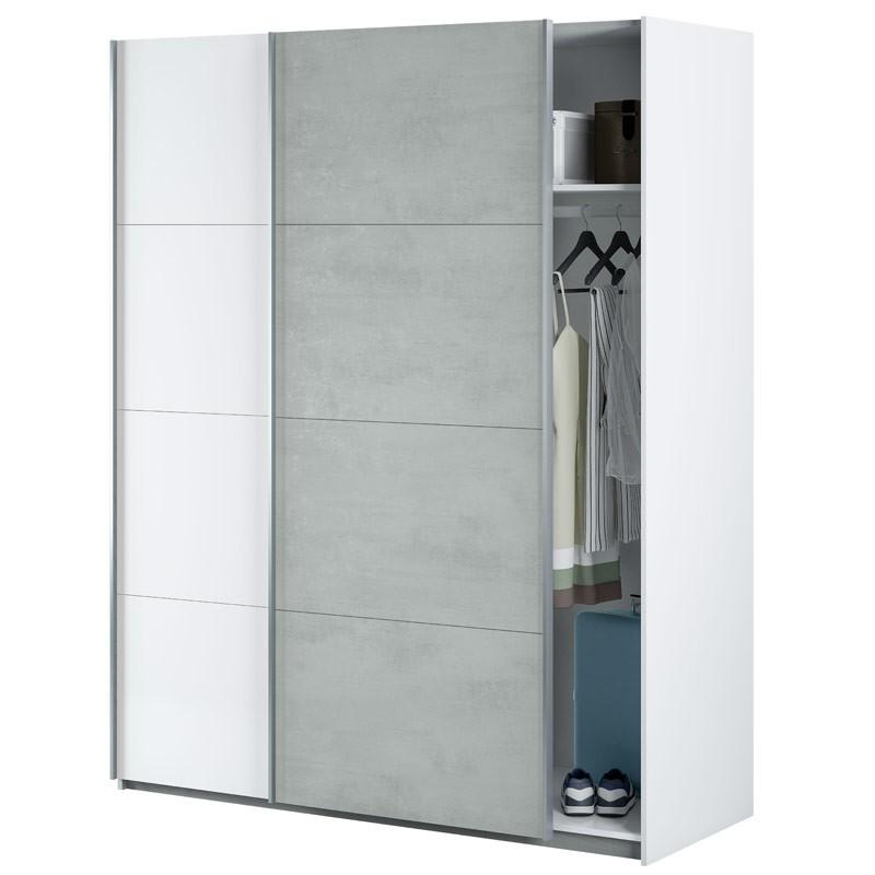 Armario 2 puertas correderas Cemento 150x60x200 cm