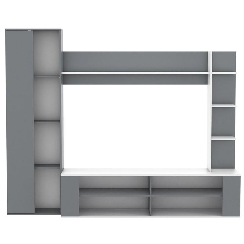 Mueble TV salón Nest blanco y gris moderno 224x44x180 cm