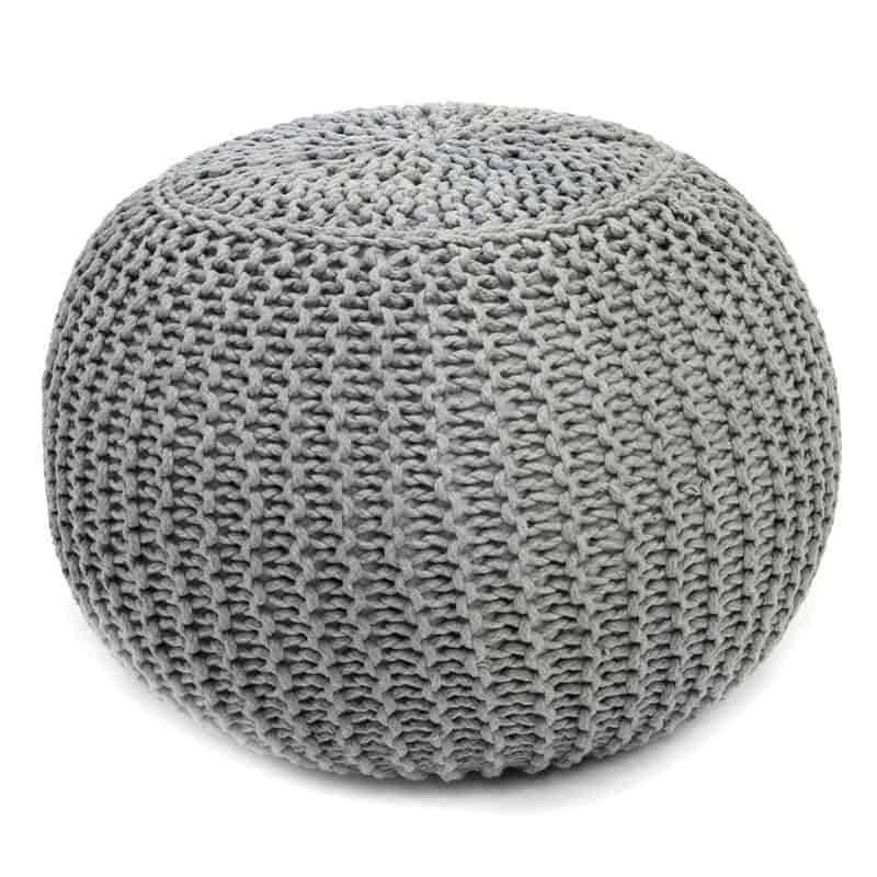 Pack 2 puff color gris estilo moderno 40x29 cm