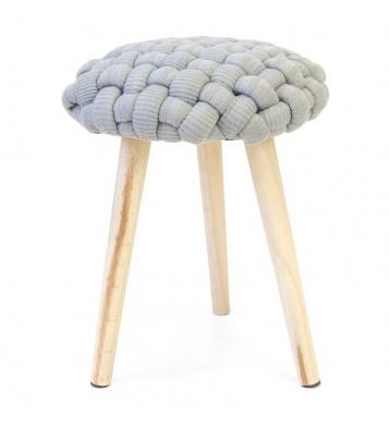 Pack 2 taburetes Trenza tejido crochet color gris 46x36 cm