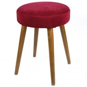 Pack 2 taburetes Velvet rojo patas madera 49x36 cm