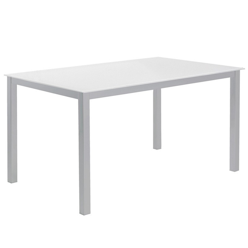 Mesa cocina Cadell fija cristal blanco140x90 cm