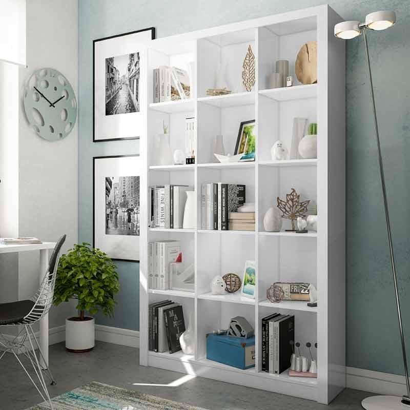 Estanteria o libreria de pie con 15 espacios blanco brillo 195x114x30cm