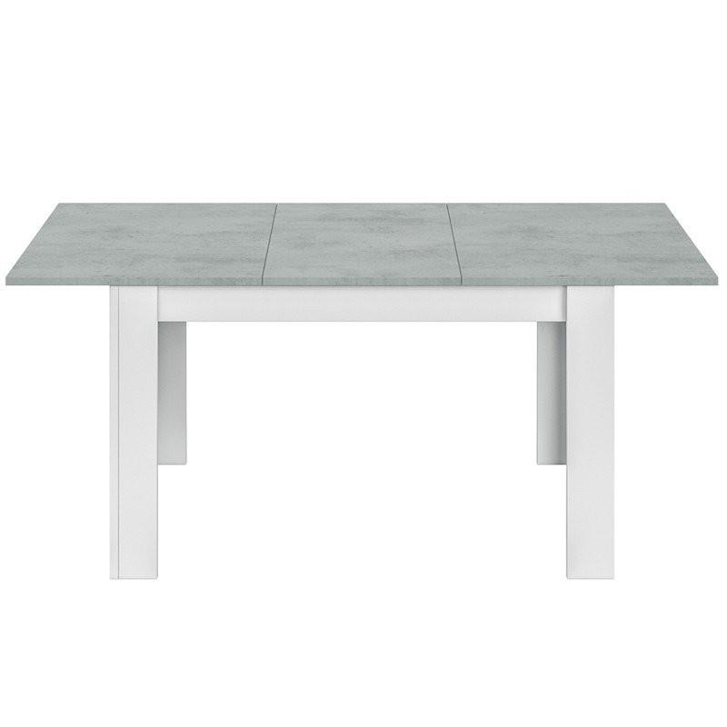 Salón blanco y cemento moderno