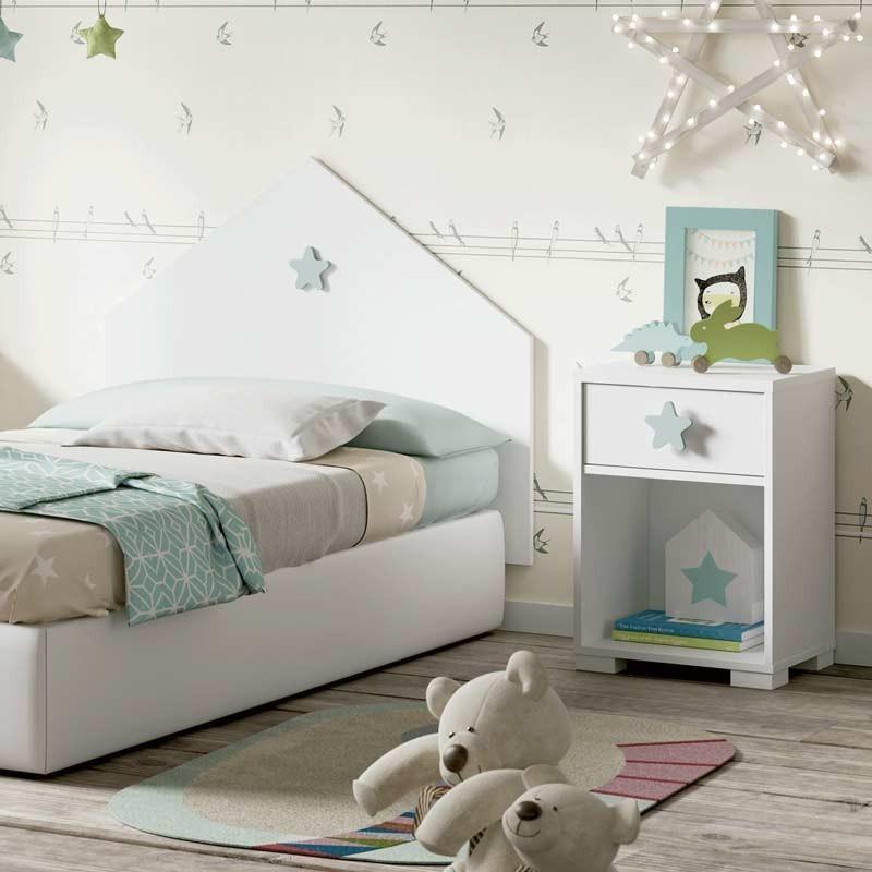 Cabezal y mesita infantil Star dormitorio blanco gris