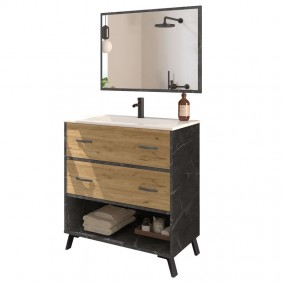 Mueble baño moderno Columbia espejo y lavabo 81x47x90
