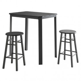 Mesa con 2 taburetes cocina negro gris