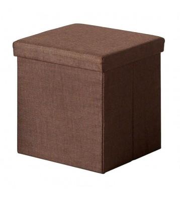 Puff cuadrado marrón tela 40x41