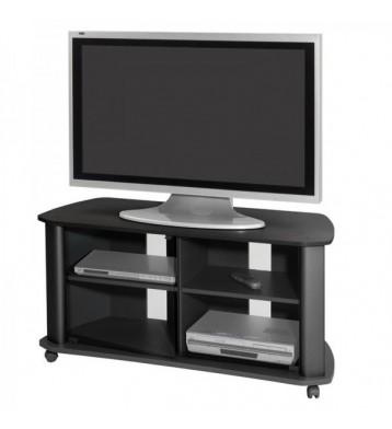 Mesa TV negra 2 puertas cristal 92x55