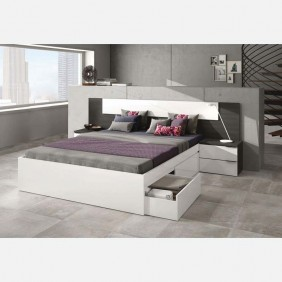Dormitorio matrimonio completo cama cabezal y 2 mesitas Blanco/Ceniza