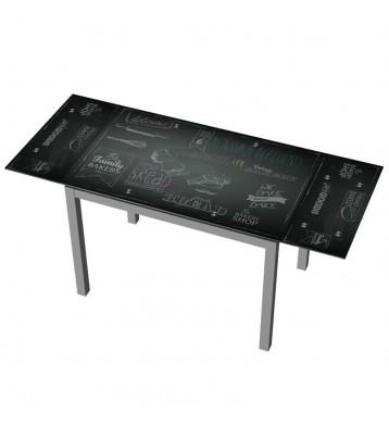 Mesa extensible cocina negra decorada 110-170x70