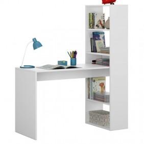Mesa de escritorio con estanteria reversible Duplo. Blanco