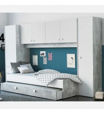 Pack dormitorio juvenil con armario puente Concrete cama con cajón