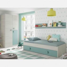 Pack cama nido con armario y estante juvenil Snuba verde y blanco 90x190