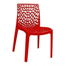 Pack 4 sillas polipropileno brillo rojo