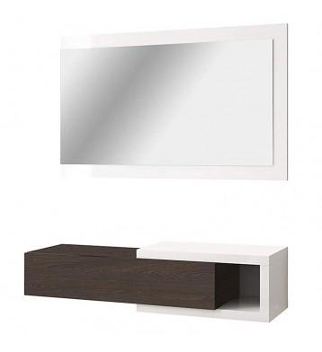 Recibidor colgante con cajón y espejo en color blanco brillo y toscana 19x95x26 cm