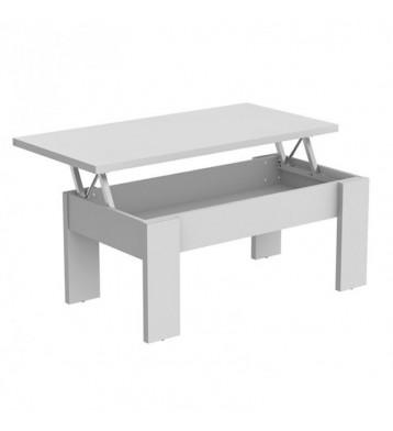 Mesa de centro elevable blanca mate, 100x50cm