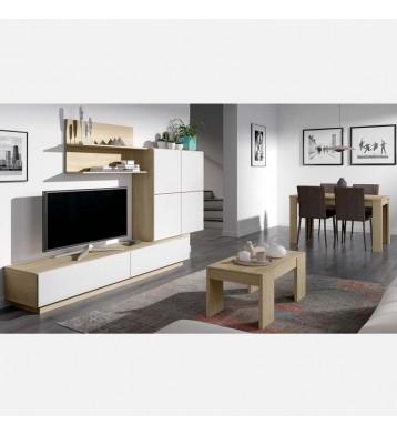 Pack salón compuesto por mueble mesa extensible y mesa centro elevable