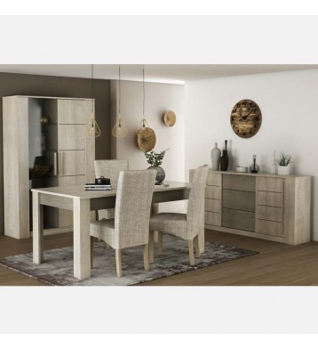 Pack salón Antibes con 4 sillas color beige