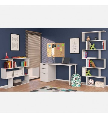 Conjunto Estanterías y escritorio Athena color blanco