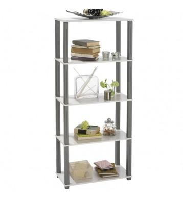 Estanteria auxiliar 5 estantes. 60x145cm. Blanca y gris
