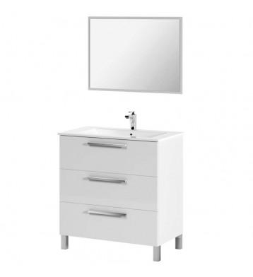 Mueble de baño con lavabo y espejo Blanco Brillo Taria 86x80 Blanco Brillo