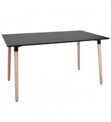 Mesa salón nórdica negra pata madera 140 cm