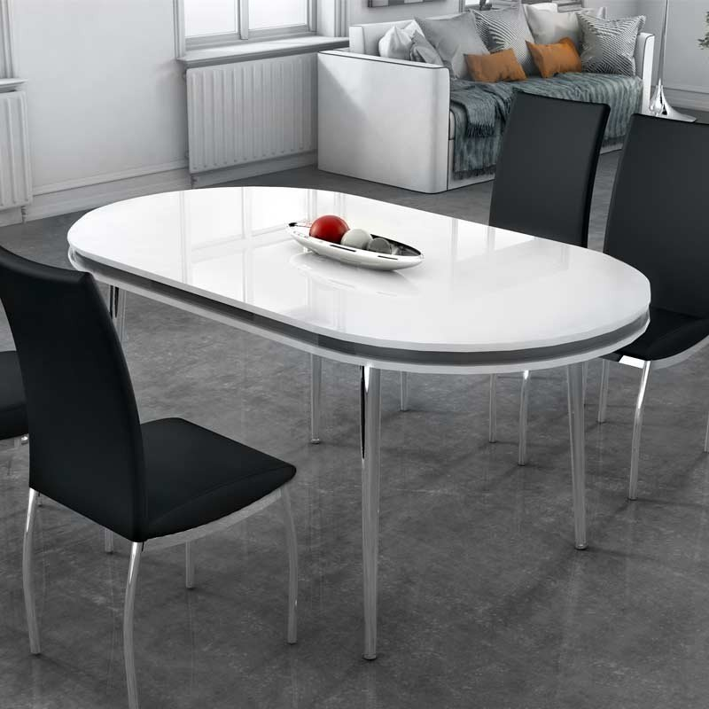 Mesa comedor ovalada blanca moderna 160x90
