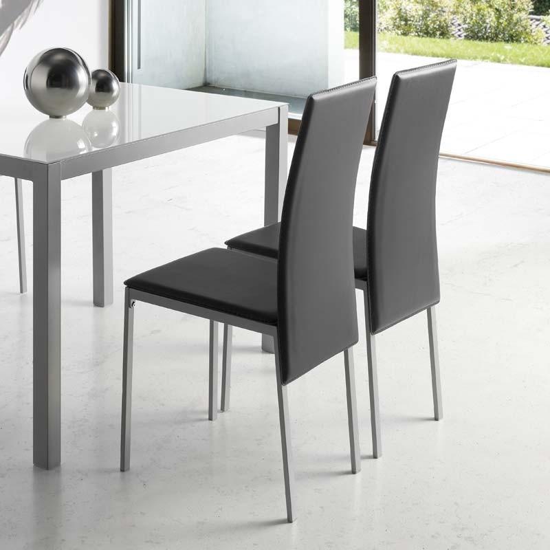 2 sillas modernas tapizadas polipiel Saona