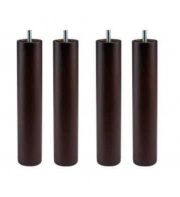 Pack 4 patas redondas madera Wengué